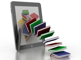 Image of books falling out of a tablet